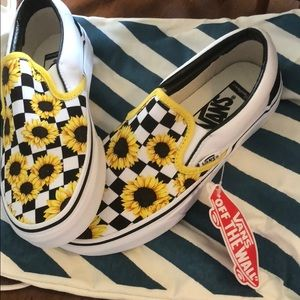 Vans Shoes - Custom sunflower Vans slip on c6a1a8719
